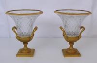 Coppia di Coppe in bronzo e cristallo