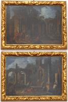 """Coppia di dipinti """"Rovine"""""""