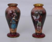 Coppia di vasetti in smalto di Limoges